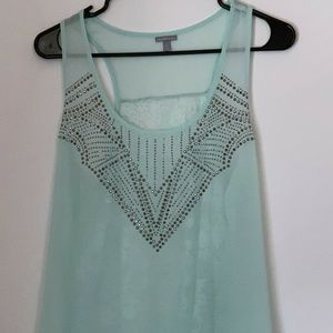 Charlotte Russe Mint Lace and Embellished Tank Top